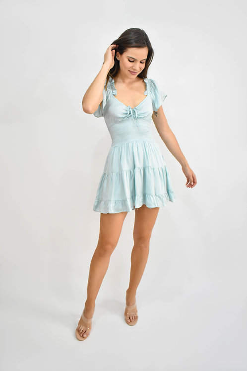 Vestido corto satín baby blue