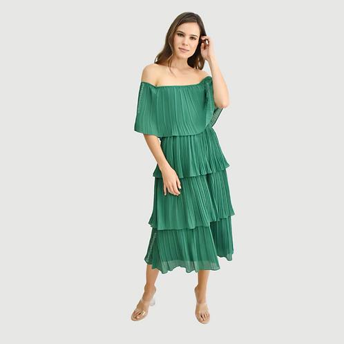 Vestido midi off shoulder plisado verde