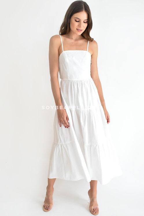 Vestido maxi tirantes detalle moño en espalda blanco