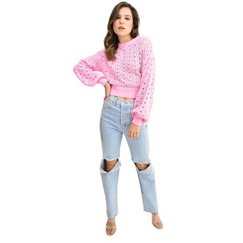 Sweater crop rosa