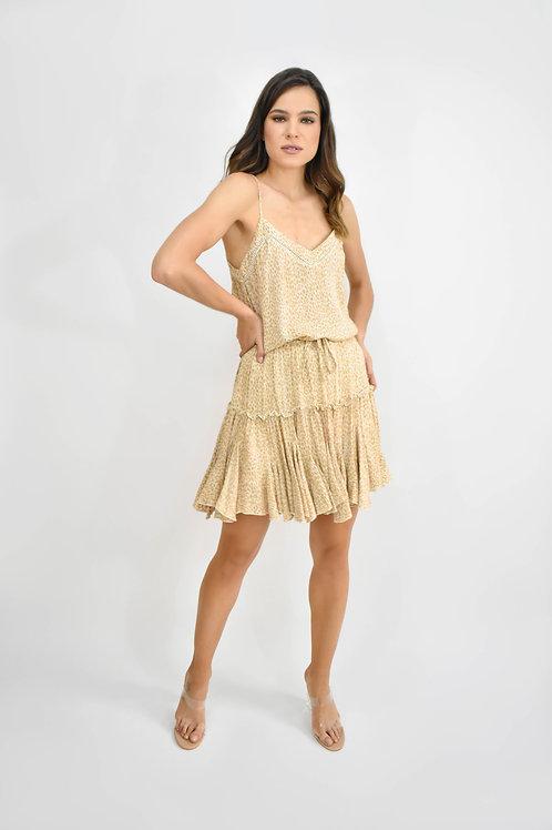 Set blusa y falda print nude