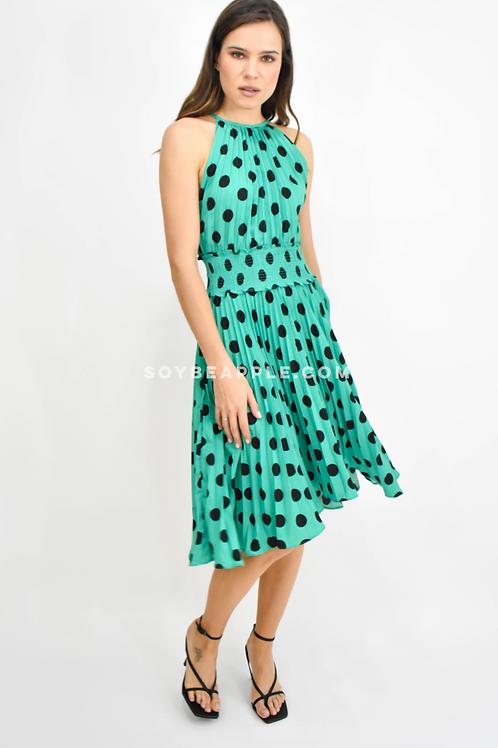 Vestido plisado lunares verde