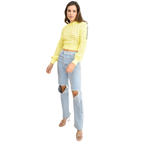 Sweater crop amarillo