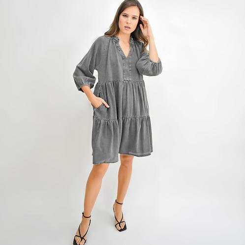 Vestido corto denim gris