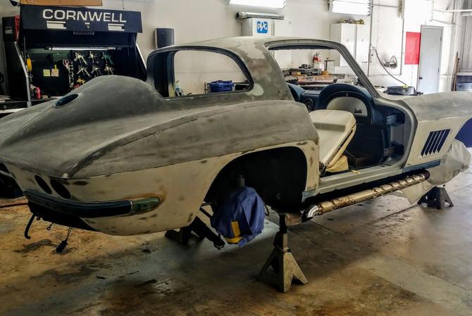 Stripped Down 67 Corvette Paint