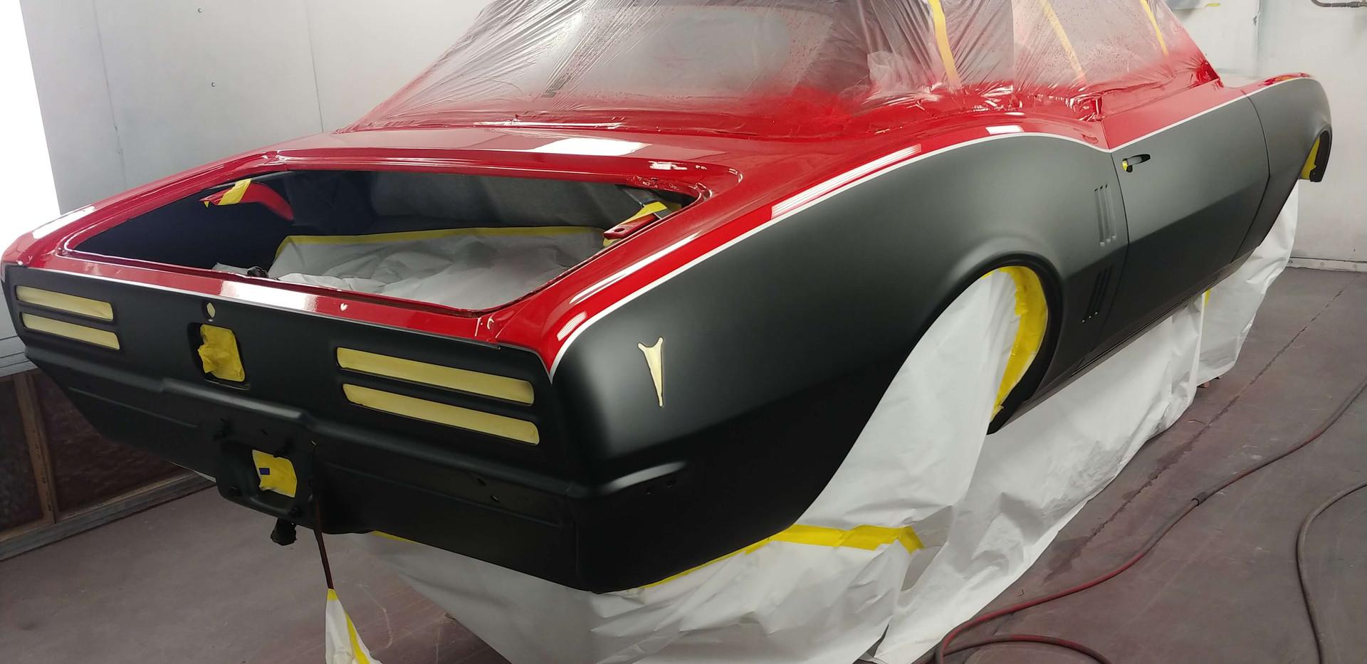 Matte Black + Red Paint