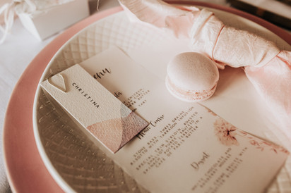 Pastel pink wedding - Table place settings with Macaroon favours