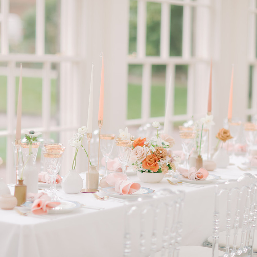 Romantic blush table setting