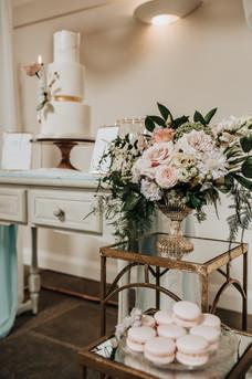 Cake table styling luxury barn wedding