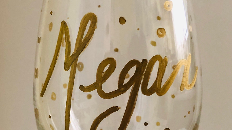 Stemless Wine Glass - Golden Baubles