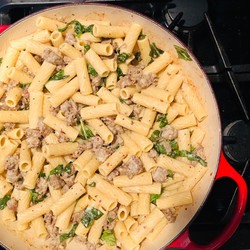 Rigatoni with Sausage and Basil in a Mustard Cream Sauce