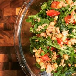 Chickpea Tuna and Tomato Salad with Arugula