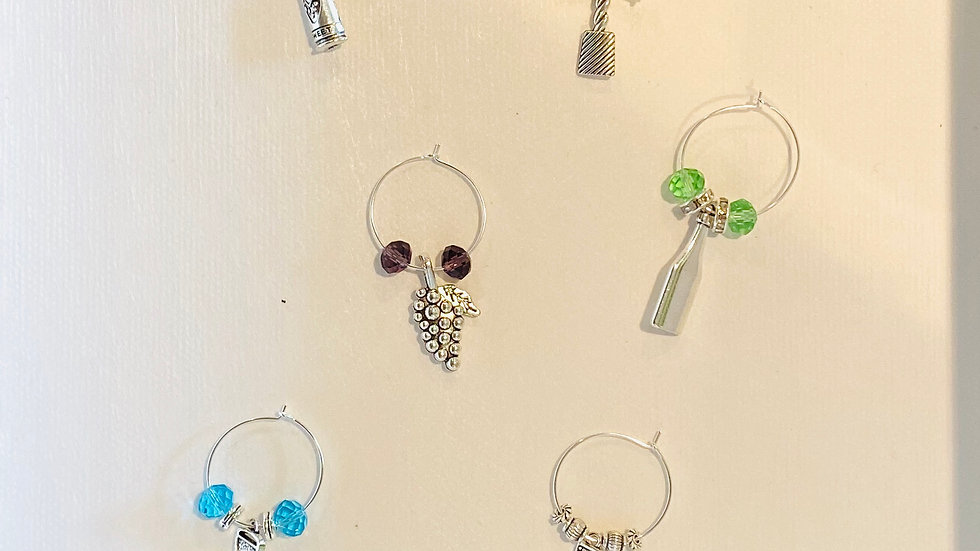 Wine Glass Charms - Aqua, Amethyst & Peridot
