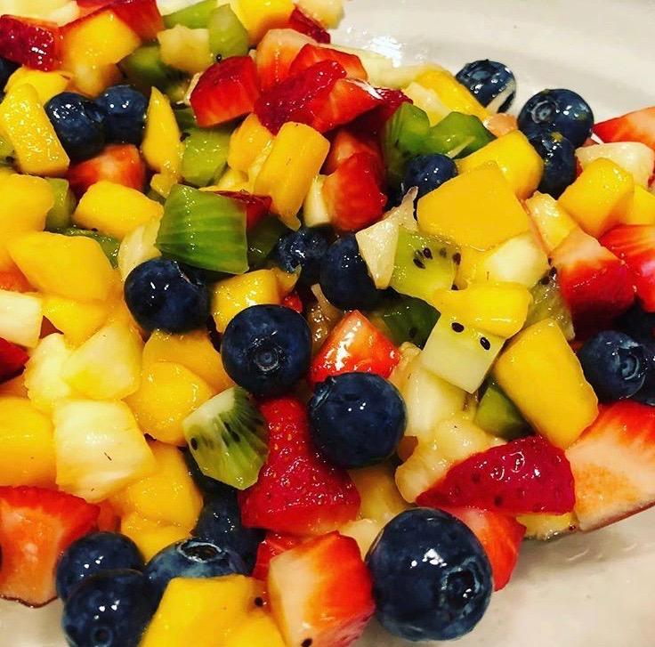 Rainbow Fruit Salad with Honey Lime Vinaigrette