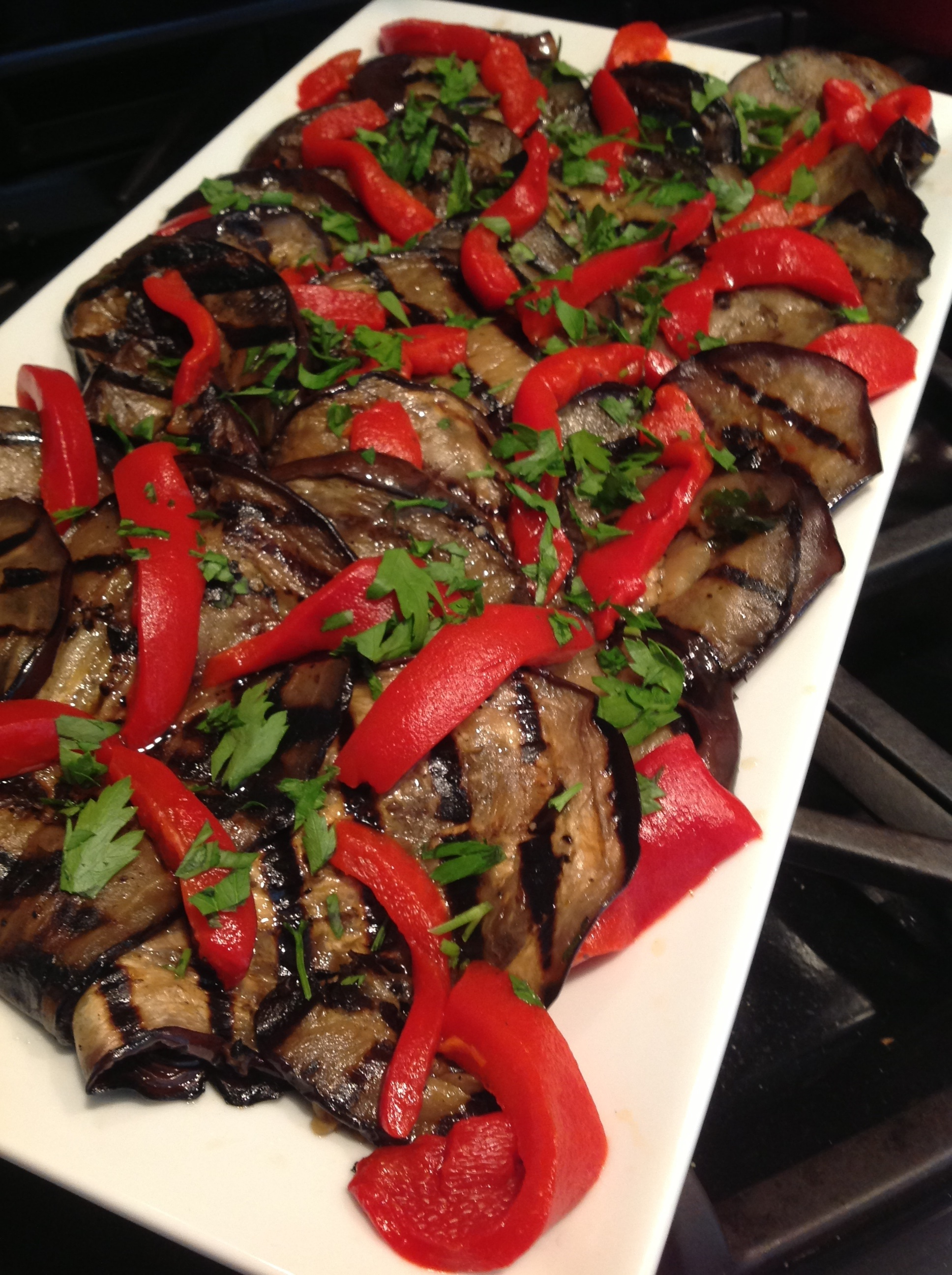 Grilled Eggplant and Roasted Peppers