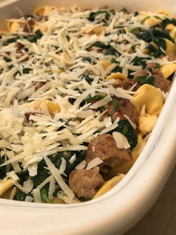Baked Tortellini with Sausage and Spinach