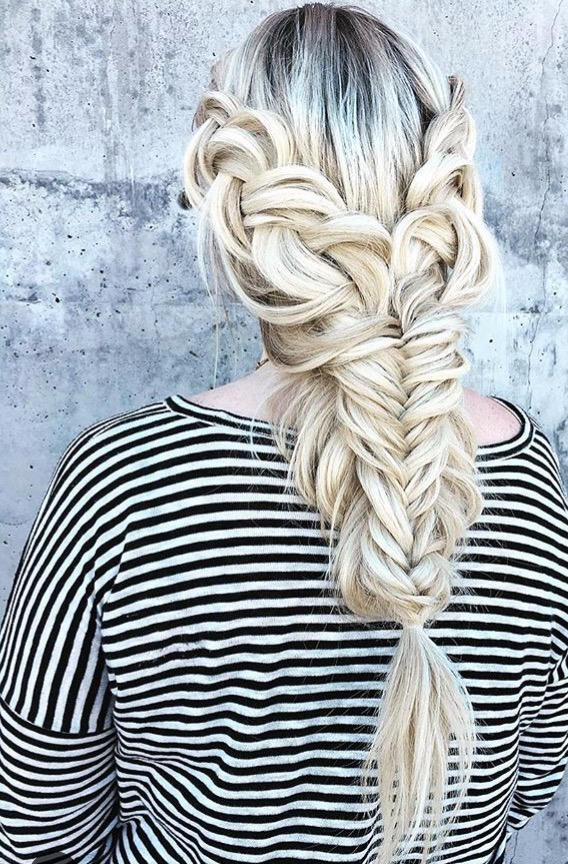 Mint salon blonde messy braid