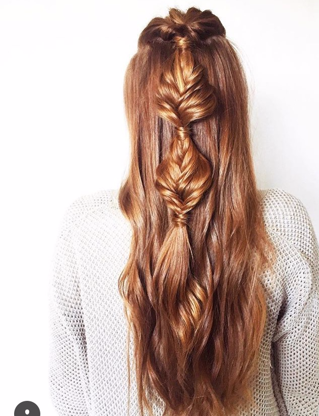 Mint salon red fishtail braid