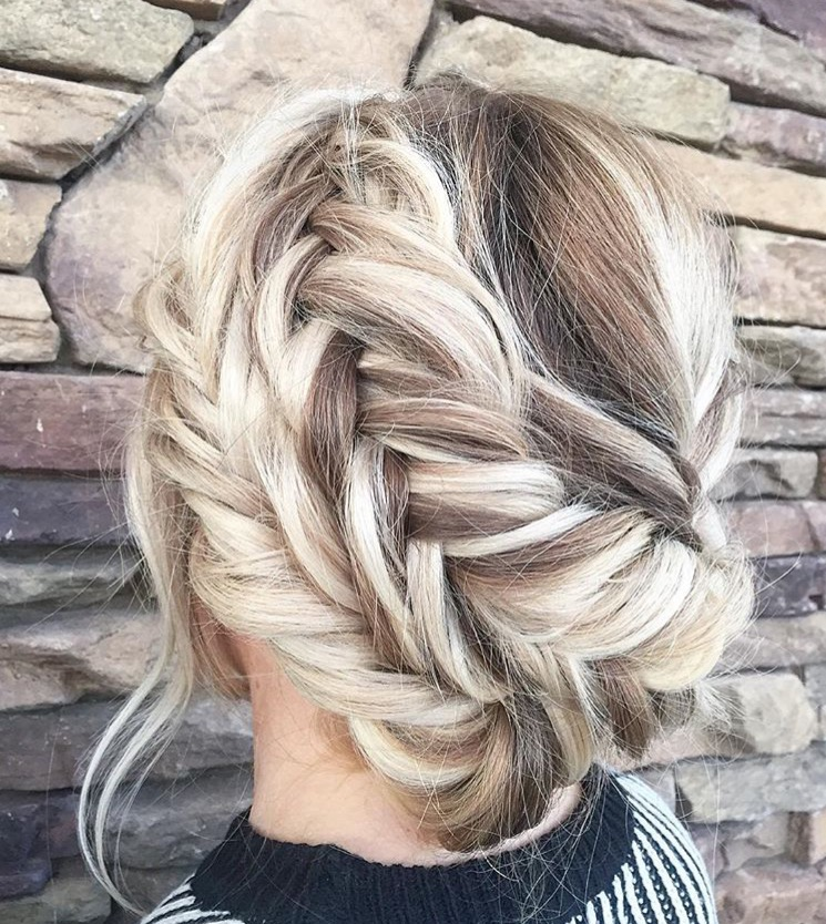 Mint salon blonde crown braid