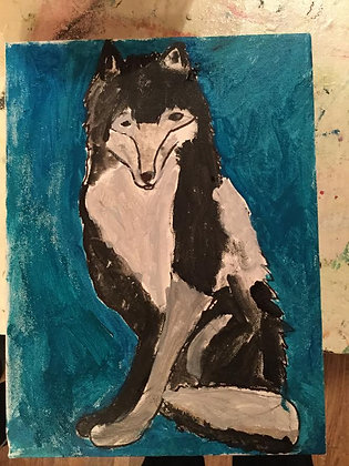 Midnight Fox original painting by Jacoba (age 7)