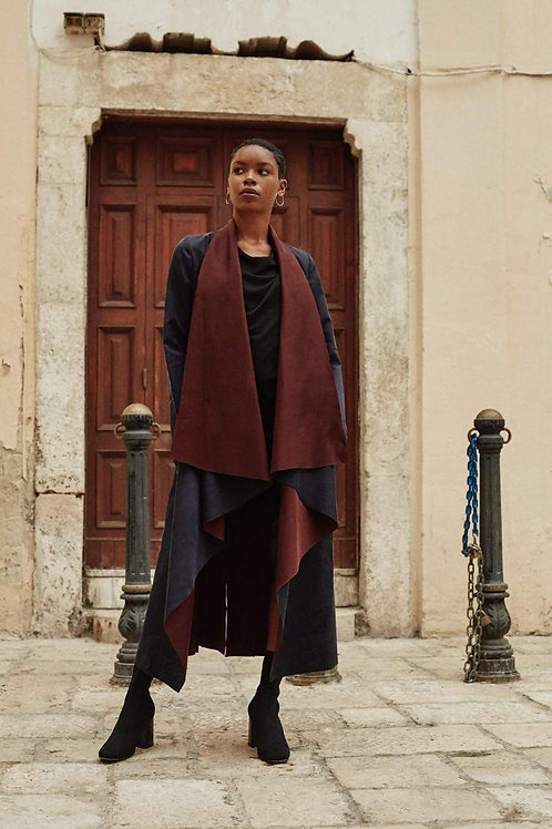 Demi Two-tone Navy on Burgundy Waterfall Trench Coat
