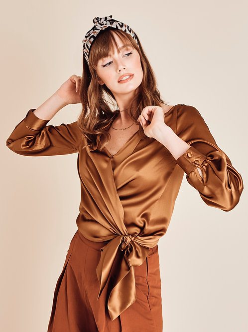 Gwenyth bronze silk wrap blouse