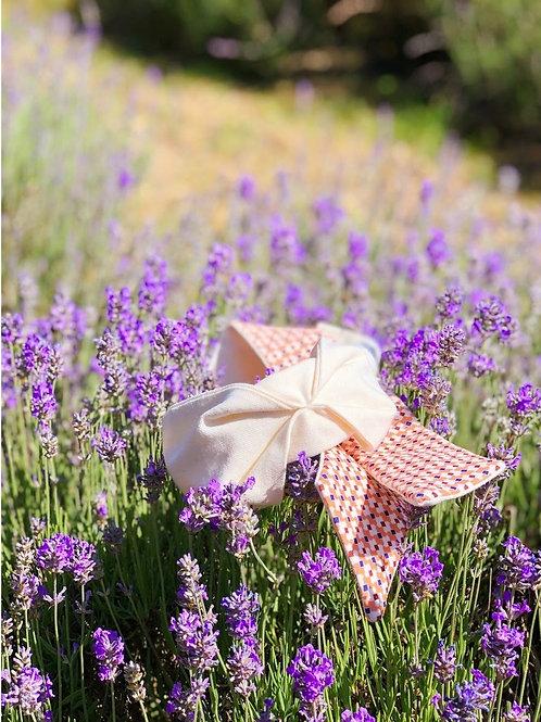 Retro geometric floral White Aline Knot-tie Headband