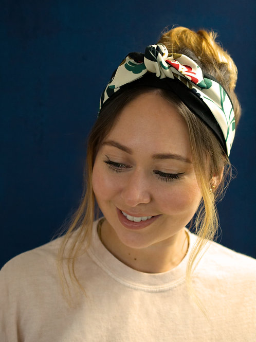 Floral White Tilly Knot-tie Headband
