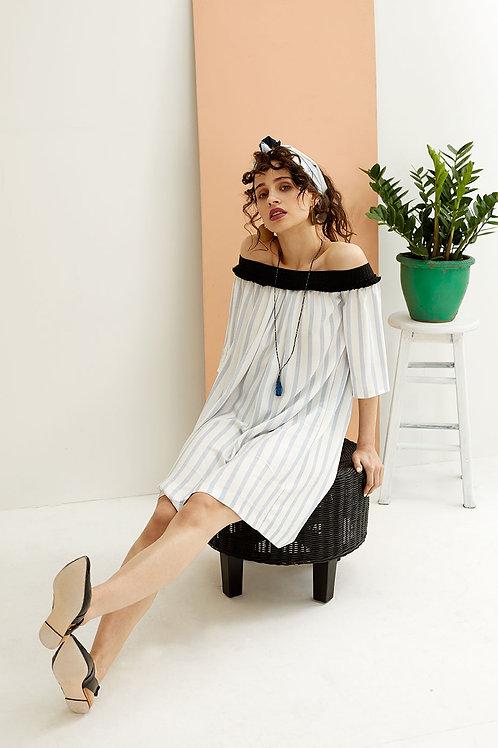 Idalia Striped Bardot Dress
