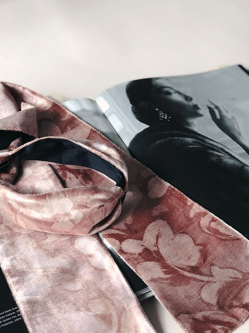 Dawn Floral Print Pink Velvet Wrap Headband