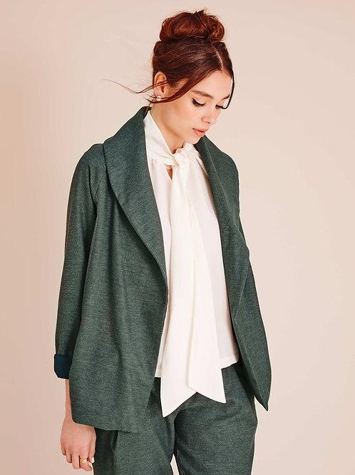 Neve Grey Eucalyptus Drape Jacket