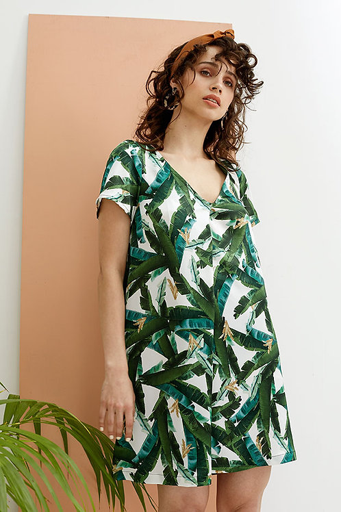 Aurora Capped Sleeve V-neck Dress