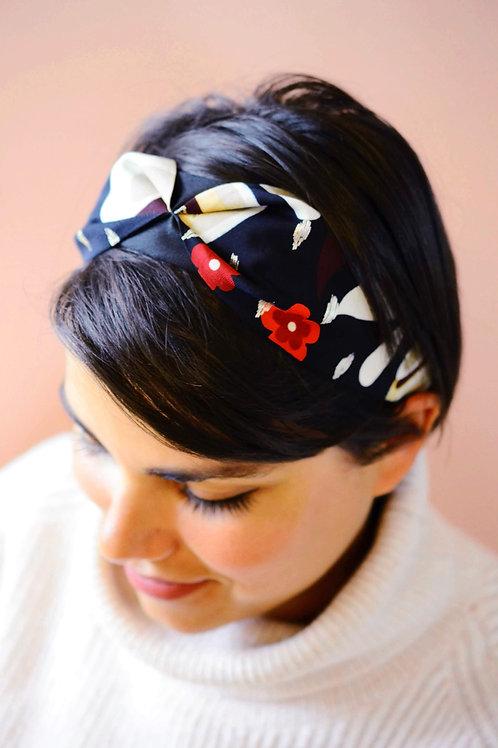 Magnolia Floral Print Dark Navy Headband