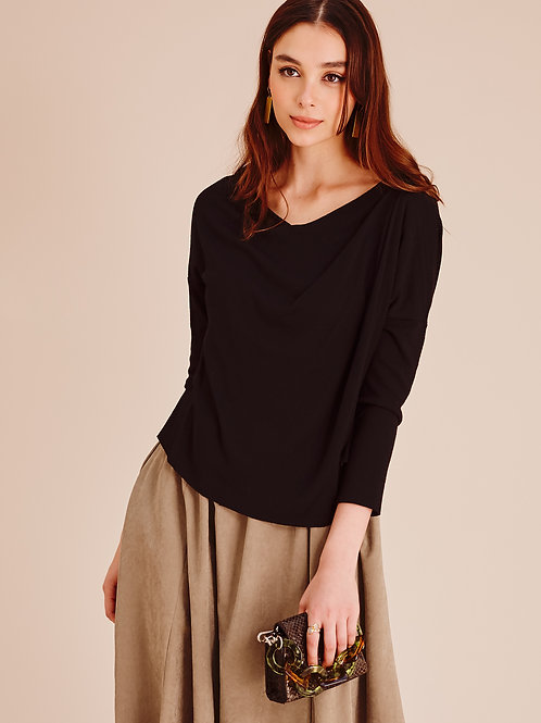 Maddison Black Asymmetric Draped V-Neck Jumper