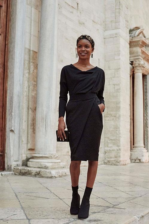Alyssa Black Wrap Pencil Skirt