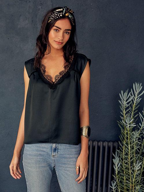 Samira Satin Green Lace V-Neck Sleeveless Top