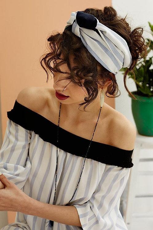 Serre-tête foulard Idalia rayé bleu ciel et blanc