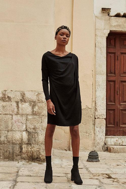 Lexi Midnight Black Asymmetric Drape Dress