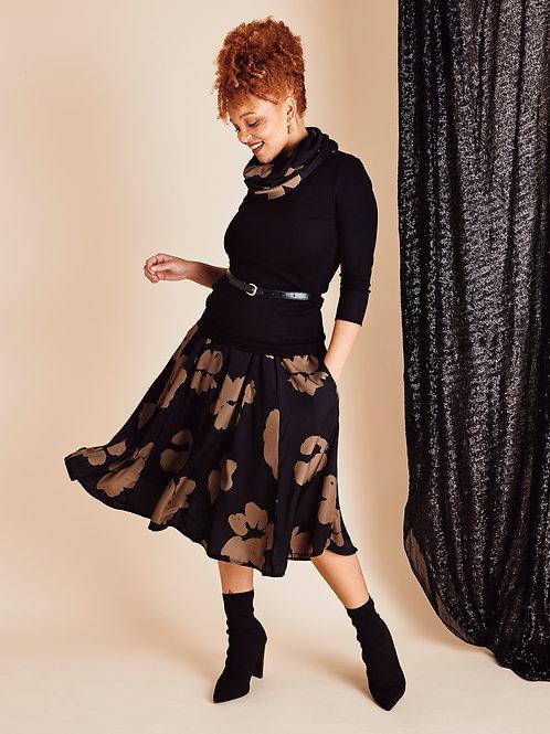 Jamila Black Marigold Midi Skirt