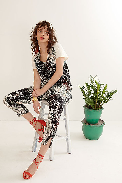 Mae Tropical Print Tapered Trousers