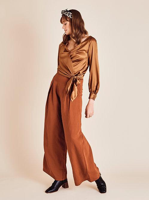 Ember Autumn Ochre High Waisted Wide-leg Trousers