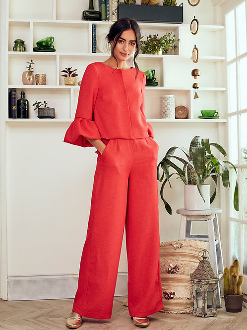 Aziza Pink Coral Wide-leg Linen Trousers