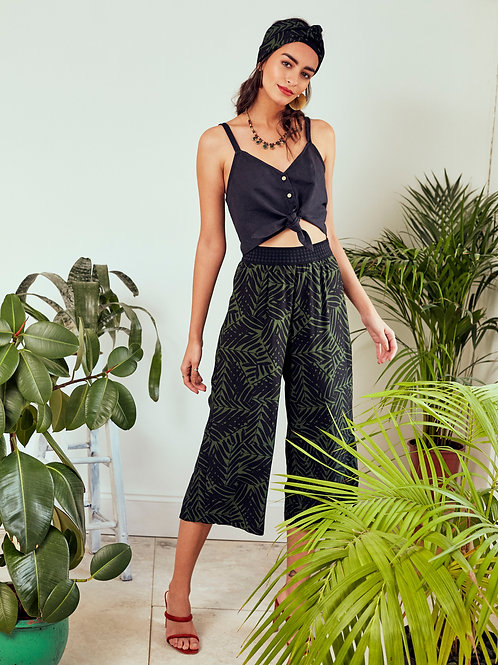 Solange Green Forest Print Wide-leg Cropped Trousers