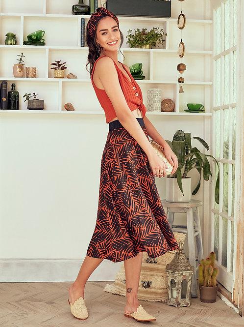 Jamila Tropical Saffron Midi Skirt