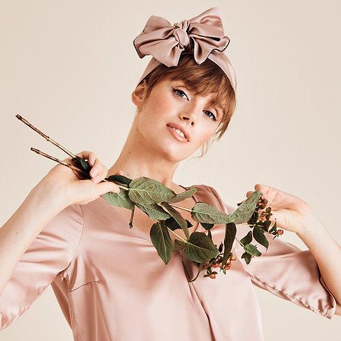 Serre-tête foulard Sienna Pink Satin