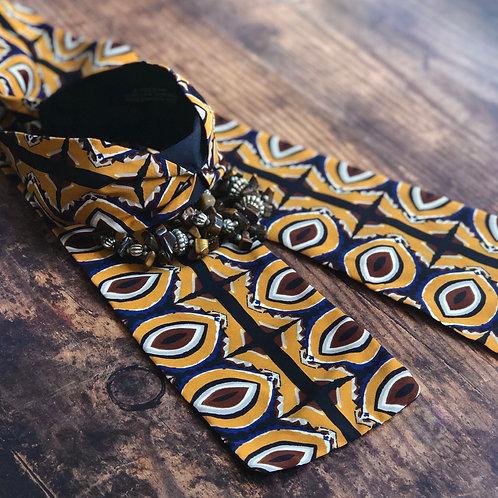 Kaleidoscope Mustard, Navy and Brown print Wrap Headband