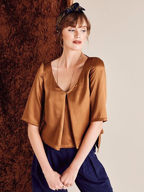Sienna Bronze silk Boxy Top