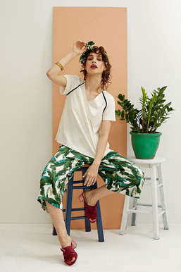 White Poppy Top with Solange trousers in Banana leaves