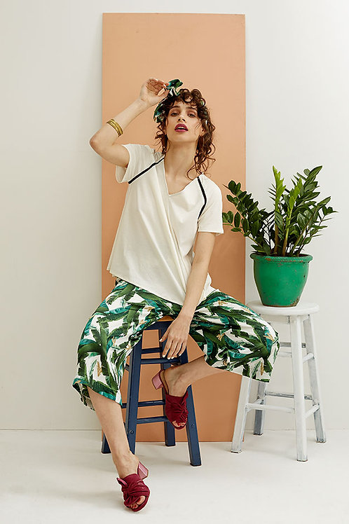 Solange Banana Leaf Print Wide-leg Cropped Trousers