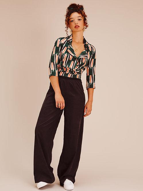 Keyla Midnight Black Cupro High Waisted Wide-leg Trousers